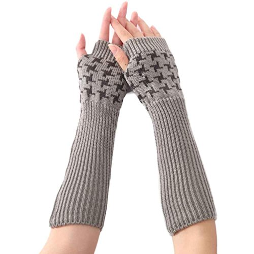 Amileyレディースニット親指穴アームスリーブ指なし手袋ソフトミトン