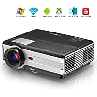 EUG Wireless Portable Projector, Support HD1080P 720P HDMI USB Miracast Airplay WiFi, Digital Video Projectors for Home Theater Cinema Indoor Outdoor Entertainment