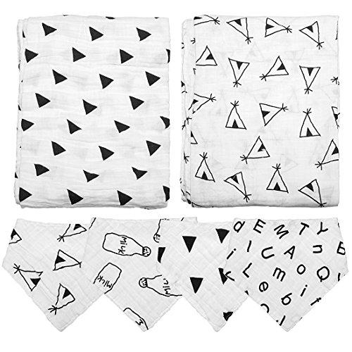 Ava & Kings 2 pc Baby Muslin Cotton Swaddle Blanket & 4 pc Bandana Bib Combo Set (Bed Bandana Sheets)