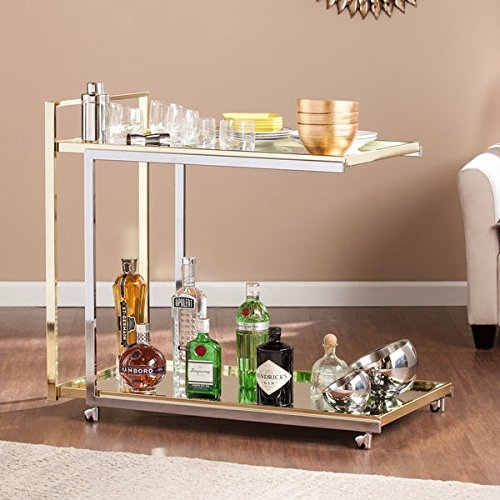 Modern Bar Cart (Upton Home Ramona Bar Cart, Gold/Metallic silver, 32 x 36 x)
