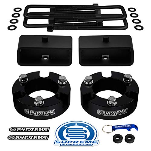 Supreme Suspensions - Full Lift Kit for 2005-2019 Toyota Tacoma Front Lift Strut Spacers + Rear Lift Tapered Blocks + Square Bend U-Bolts 2WD 4WD (Parent) (3' Front + 2' Rear, Black)