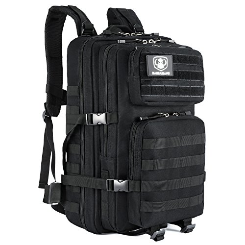 35L Tactical Backpack, Barbarians Molle Bug Out Bag Military Assault Pack Rucksack for Outdoor Hiking Camping Trekking Hunting(Black)