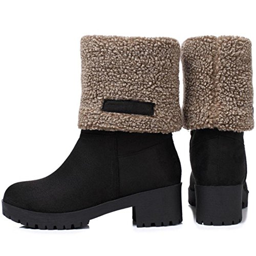 COOLCEPT Women Boots Pull On Ankle/Mid Calf Black XD1zpvID