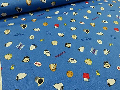 スヌーピー アイコン ブルー オックス生地 2019 |キャラクター|生地|布地|入園入学|通園通学|キッズ|男の子|女の子|スモック|レッスンバッグ|シューズ入れ|体操着入れ|手作り|