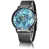 SunbirdsEast Wrist Watch, Mineral Diamond Crystal Pattern Black Steel Analog Quartz Vogue Watch