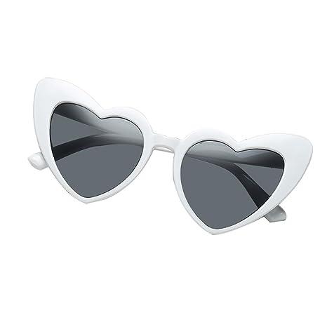 AOLVO con Forma de corazón Gafas de Sol, Retro Cute Ligero Marco de plástico Gafas HD Espejo para Las Mujeres/niñas UV400 Negro, C3, Talla única