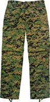 Camouflage Military BDU Pants, Army Cargo Fatigues (Digital Woodland Camouflage, Size Small)