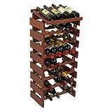 Wooden Mallet 32 Bottle Dakota Wine Rack with Display Top Medium Oak