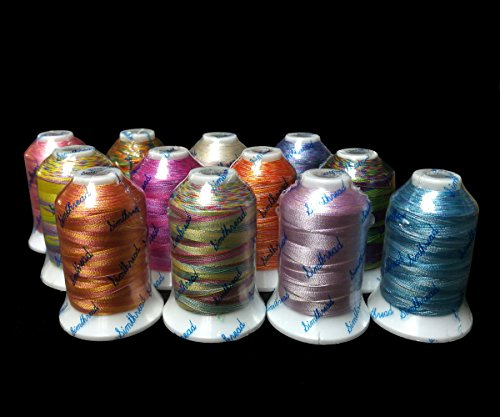 12 Multi Color Polyester Embroidery Thread 1000 Meters Each for Janome Brother Pfaff Babylock Singer Bernina Husqvaran and Most Home Embroidery Machines