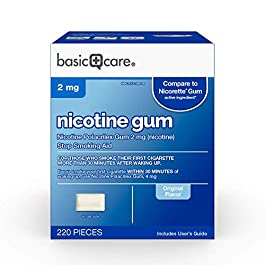 Amazon Basic Care Nicotine Polacrilex Uncoated Gum 2 mg (nicotine), Original Flavor, Stop Smoking Aid; quit smoking with…