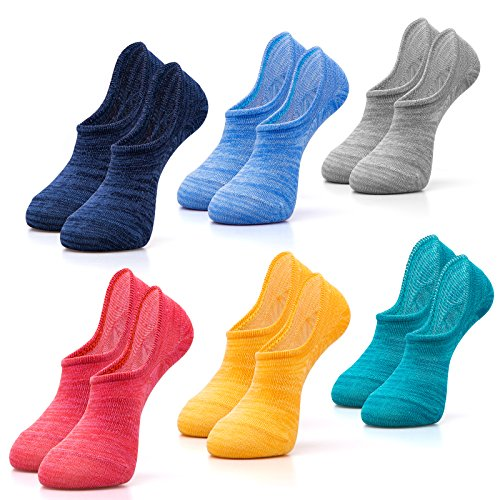 IDEGG Women's No Show Socks, 6 Pairs, Low Cut Anti-slid Cotton Athletic Casual Socks (US Women Size 6-12)