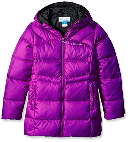 Columbia Girls Glam Her Long Down Jacket, Bright Plum-Black, Small by Columbia