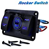 Rocker Switch Panel COROTC 12V 24V 2 Gang Rocker Switch + Dual USB Charging Aluminum Rocker Switch Panel 5-Pin ON/Off Pre-Wired Toggle Switch for Car Truck RV Boat SUV