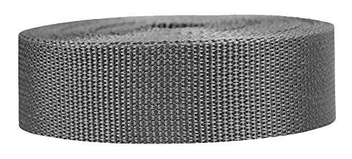 Strapworks Lightweight Polypropylene Webbing - Poly Strapping for Outdoor DIY Gear Repair, Pet Collars, Crafts – 1.5 Inch x 50 Yards - Charcoal - Charcoal Seat Polypropylene