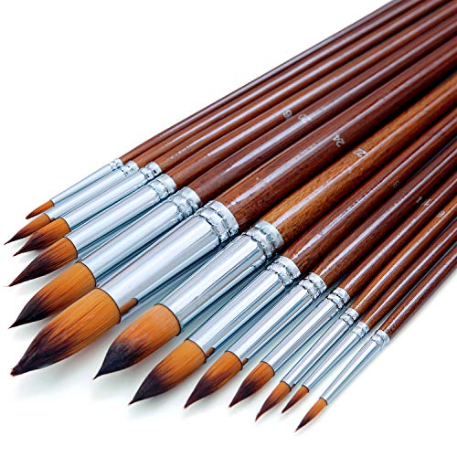 Artist Watercolor Paint Brushes Set 13pcs - Round Pointed Tip Soft Anti-Shedding Nylon Hair Wood Long Handle - Detail Paint Brush for Watercolor, Acrylics, Ink, Gouache, Oil, Tempera, Paint by Numbers