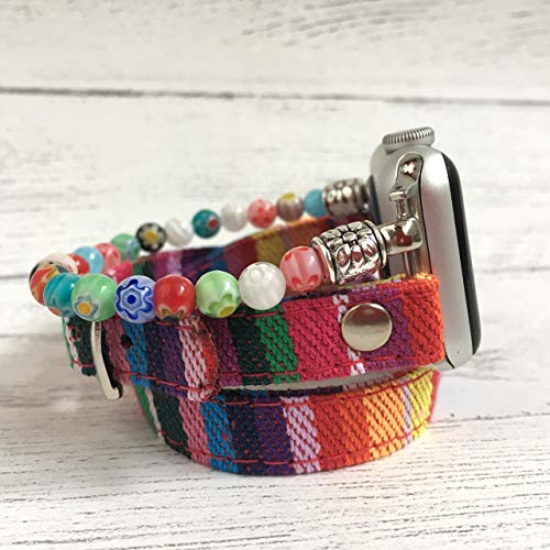 Stacked bracelet style handmade beaded band for Fitbit and Apple Watches (Rose Millefiori)