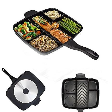 Sartén antiadherente 5 en 1 color negro, varias secciones para cocinar, válido para vitrocerámica, fuego e inducción