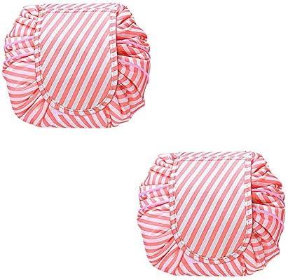 トラベルコスメティックバッグポータブル多機能防水化粧バッグケース浴室ストレージキャリーケーストイレタリーバッグ折りたたみ、巾着袋、2個,ピンク