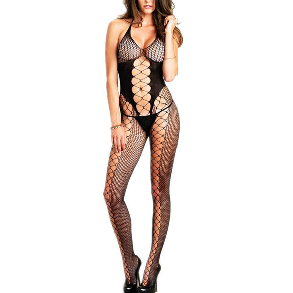 3e600ec83 HeartBee Plus Size Open Crotch Open Back Halter Fishnet Scale Top Body- Stockings Black  Amazon.ca  Clothing   Accessories