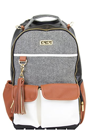 Itzy Ritzy Diaper Bag Backpack - Large Capacity Boss Backpack Diaper Bag Featuring Bottle Pockets, Changing Pad, Stroller Clips and Comfortable Backpack Straps, Coffee and Cream