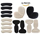 AGUARA Heel Cushion Inserts - 16 pcs Heel Protector for Women, Include Heel Grips, Heel Liner, Ball of Foot Cushions, Blister Prevention & Improve Shoes Too Big Black and Beige (Suite)