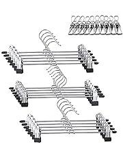 Qualsen Pant Hangers, Skirt Hangers with Non Slip Clips Anti Rust Metal Adjustable Width Clip Hanger for Pants Skirts Slacks Trousers, 11.8inch, Pack of 15