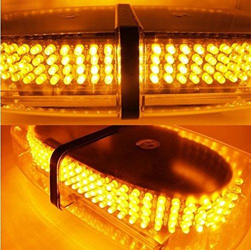 FuriAuto helle 240 LED Blitzleuchten Warnung Mini Bar mit Magnetfuss, fuer Auto-Anhaenger RV Caravan Boat Top Amber