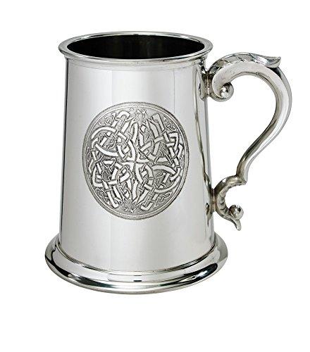 Bright Pewter Tankard (Wentworth Pewter Celtic circle 1 Pint Pewter tankard)