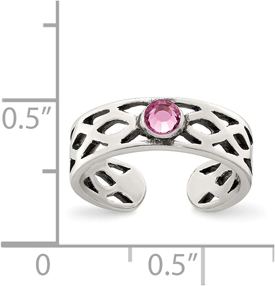 Sterling Silver Toe Jewelry Rings Solid 5 mm Antiqued Pink CZ Toe Ring