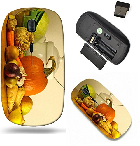 Liili Wireless Mouse Travel 2.4G Wireless Mice with USB Receiver, Click with 1000 DPI for notebook, pc, laptop, computer, mac book The beauty of fall as a still life with soup vegetables and tureen on (Color Tureen Multi)