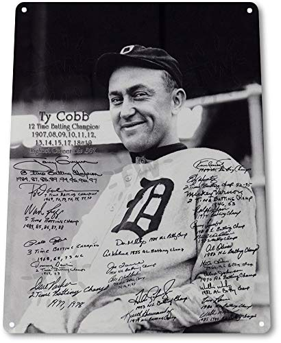 (Tin Sign 8x12 inches Ty Cobb & Batting Champions Baseball History Card Shop Store)