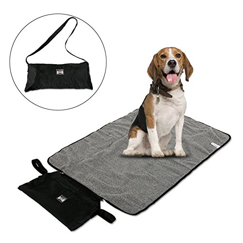 Petacc Foldable Pet Mat Blanket Warm Pets Blanket Portable Pet Mat with Storage Bag, Suitable for Outdoor and Indoor Use, Black
