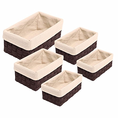 Lined Wicker (Yaheetech Wicker Nesting Storage Basket Set 5PCS Lined Various Sizes Rectangular Decorative Organizer)