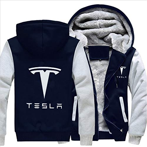 Men Women Tesla Car Logo Casual Jacket Sweatshirts Thicken Coat Zipper Hoodie