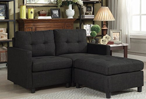 Black Loveseat Sofas with Ottoman Reversible Linen