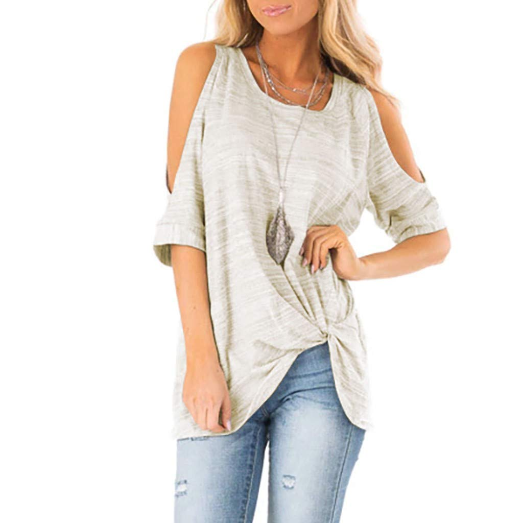 Summer T Shirt Women Half Sleeve Cold Shoulder Casual Tunic Top, Loose Twist Knotted Tops Blouse, Hot Fashion Tee for Lady