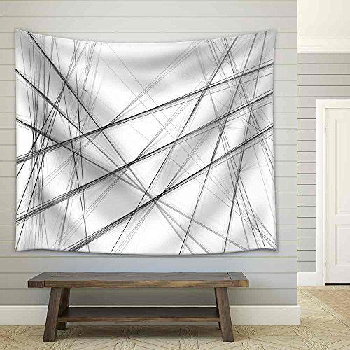 Abstract Black and White Background with Crossing Lines Fabric Wall