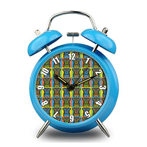 GIRLSIGHT 4 Colors Child Portable Cute Round Retro Double Bell Appearance, Loud Ringing, Desktop Table Bedside Clocks Decor 031.Chorkie Dog Cartoon Pop-Art Blue Alarm Clock ()