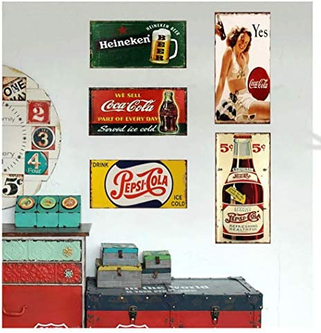Easy Painter 5PCS Vintage Beer Signs Beer Metal Tin Plate Signs Cola Poster Vintage Cafe Garage Retro Kitchen Office Pub Bar 11.8x6inchx5pcs