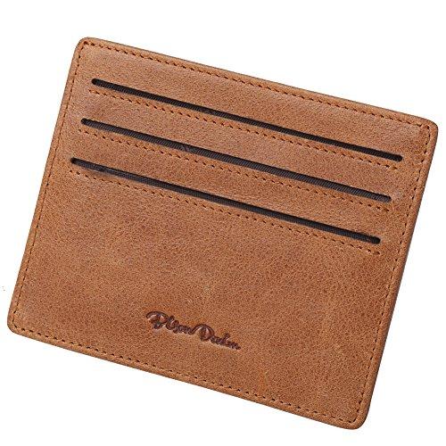 BISON DENIM Men's Leather Front Pocket Card Holder Wallet with Magnetic Money Clip Brown