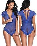 Aranmei Women Sexy Lingerie Lace Teddy Deep V Open Crotch Mesh Nightwear(Blue Medium)