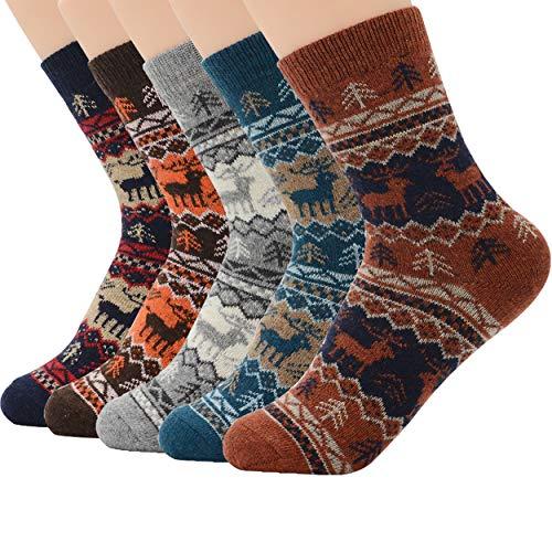 Zando Men Soft Merino Wool Knit Thick Socks Winter Warm Casual Cozy Crew Sock Comfort Cabin Sock Mid Calf Socks 5 Pairs Deer A 6-11(US)