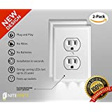 NiteBrite Outlet Cover Night Light - LED - Installs In Seconds - No Batteries Or Wires Needed - White, Duplex 2 Pack -