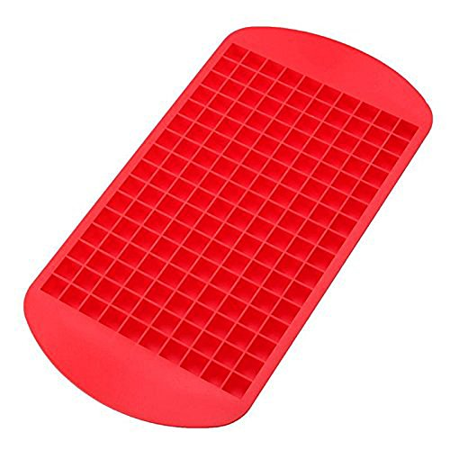 Gti Cooling (Silicone Ice Cube Trays by GTI, Each Tray Makes 160 Mini Cubes, Frozen Cube Bar Pudding Silicone Tray Mold-RED)