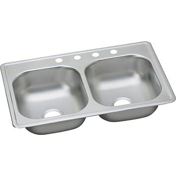 dayton 33 u0026quot  x 19 u0026quot  top mount double kitchen sink drop in dayton 33   x 19   top mount double kitchen sink drop in faucet      rh   amazon com