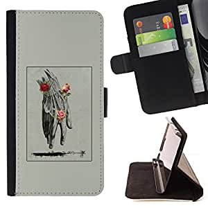 "For HTC One Mini 2 M8 MINI,S-type Mano Hombre Primavera Profundo Rose Significado"" - Dibujo PU billetera de cuero Funda Case Caso de la piel de la bolsa protectora"