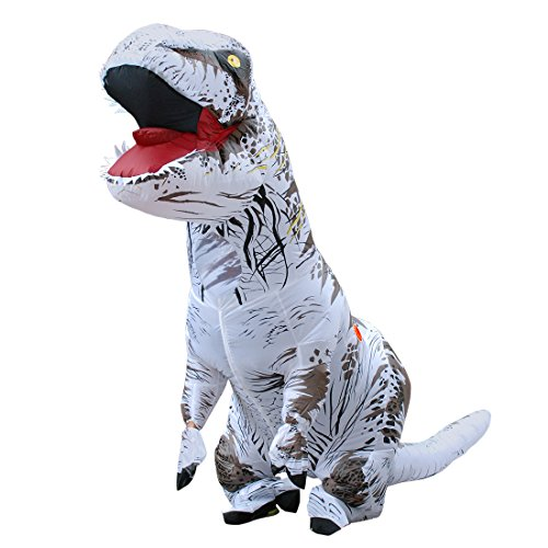 Adult Inflatable T-rex Costume Dinosaur Halloween Suit Cosplay Fantasy Costumes (White) -