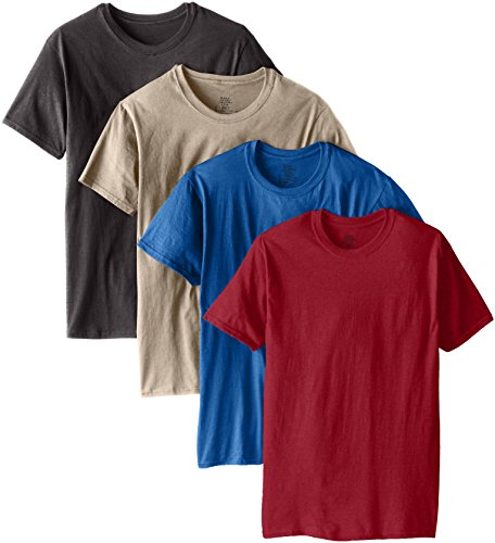 Hanes Ultimate Men's 4-Pack Comfort Blend Dyed Crew Neck T-Shirt-Colors May Vary, Assorted Small