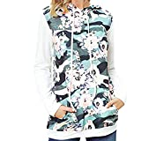 Hatop Women Hoodies Tops Floral Printed Long Sleeve Lightweight Drawstring Sweatshirt with Pockets (Blue, M)