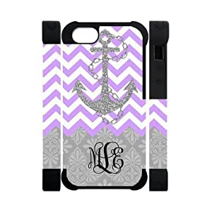Purple White Chevron Zigzags Gray Anchor & Gray Vintage European Pattern Damask Print Style & Black Initials Or Name Personalized Custom iPhone 5/5s Best Soft Rubber & Plastic Two-in-one Case